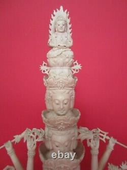 Ancienne Statuette Divinite Hindoue Deesse A 18 Bras/statue Inde/bouddha/resine