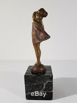 Ancienne Statuette Mascotte Bronze Au Revoir Signée E Grégoire Statue Bronze