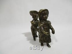 Ancienne Statuette Sculpture Figurines En Bronze Jeux Enfants