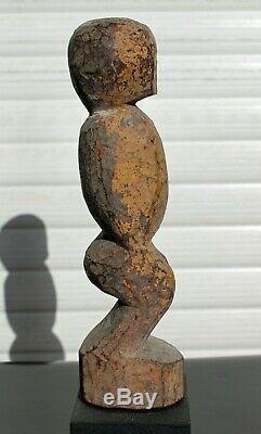 Ancienne Statuette de chasse Baoulé BO USU + socle 1900-1949 Art Africain