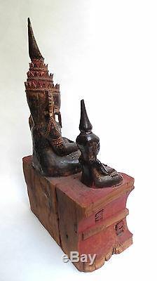 Ancienne Tête Bouddha BIRMAN bois laqué doré Birmanie début 20ème Statue Asie
