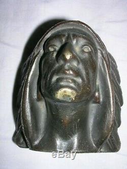 Ancienne Tete D Indien En Bronze