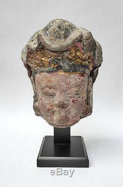 Ancienne Tête en Pierre Bodhisattva Chine Ming Sculpture 17ème siècle