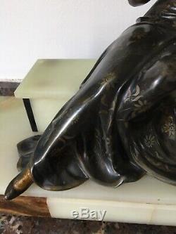 Ancienne Très Grande Statue en bronze à patine polychrome Signée Guislain