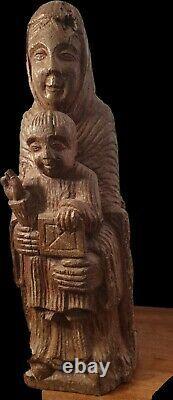 Ancienne Vierge En Majesté Trone Jésus Christ Statue Sculpture Sur Bois De Chêne