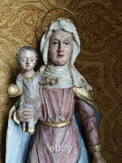 Ancienne Vierge a l'enfant bois doré / polychromé 18e siecle Allemagne