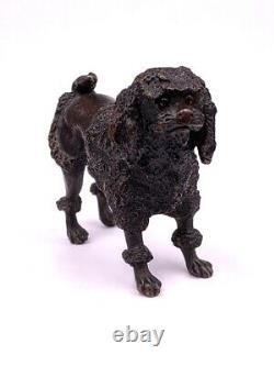 Ancienne figurine statue sculpture en bronze chien caniche Antique Poodle dog