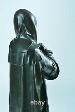Ancienne grande statue Gothique religieuse Vierge bronze sculpture Virgin 64 cm