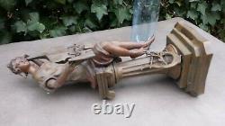 Ancienne grande statue en régule LA MUSIQUE par ROUSSEAU jeune fille au violon