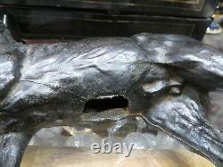 Ancienne grande statue sculpture acier patiné cheval de course etalon pur sang