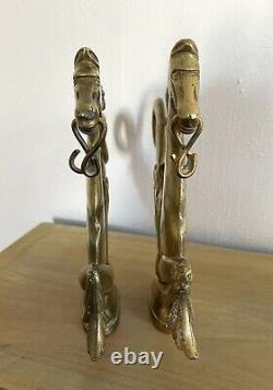 Ancienne paire chevaux de gondole ornements en bronze statue sculpture Art déco
