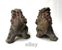 Ancienne paire de chien de fô (pho) lions chinois terre cuite Chine