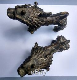 Ancienne paire de lions népalais en bronze Népal 19e