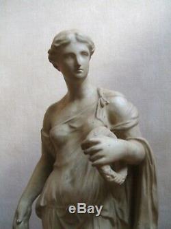 Ancienne sculpture Femme à l'antique en terre cuite Italie vers 1900