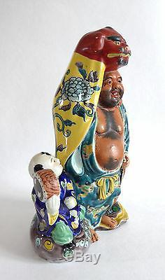 Ancienne sculpture PORCELAINE HOTEI TAIKO ENFANT JAPON début 20ème