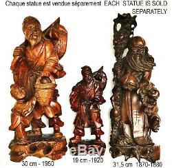 Ancienne sculpture chinoise en bois, homme, enfant et grue, 1870-1880, H31,5 cm