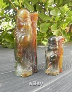 Ancienne sculpture en jade chinois statue de shou lao, Shou xing, dieu longevite