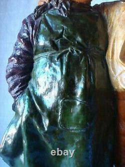 Ancienne sculpture en terre cuite polychrome Les deux gosses Johann Maresch