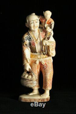 Ancienne sculpture os de boeuf Japon Japanese carved statue Asian mark