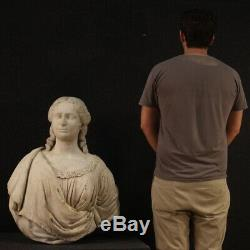 Ancienne sculpture statue buste portrait noble en marbre 700 18ème siècle