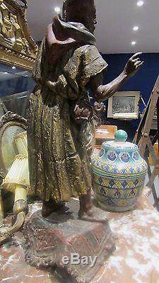 Ancienne sculpture statue regule de vienne autriche musicien arabe orientaliste