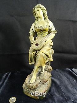 Ancienne sculpture terre cuite MIGNON par J. LE GULUCHE signée