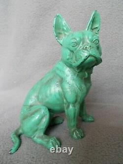 Ancienne statue art deco 1920 bouledogue francais sculpture chien french bulldog