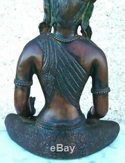 Ancienne statue bouddhiste en bronze Position lotus Perles rouge & turquoise