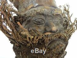 Ancienne statue chinoise, sculpture en racine de bambou