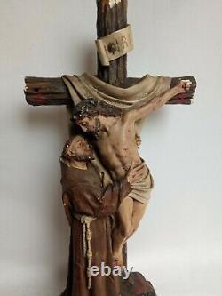 Ancienne statue en plâtre signée LAUGIER Crucifix Christ 39 cm