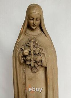 Ancienne statue en terre cuite de Sainte-Thérèse signée Bourdeau 45 cm