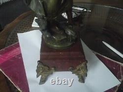 Ancienne statue régule double patine Auguste Moreau fin 19 ème