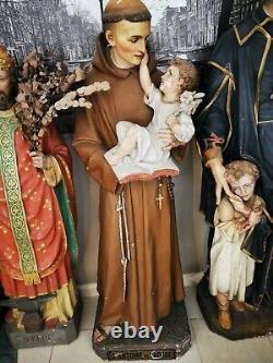 Ancienne statue religieuse St Antoine de Padoue 170 H les yeux en verre