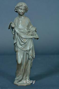 Ancienne statue religieuse en bronze patine sculpture Ange tenant un linge