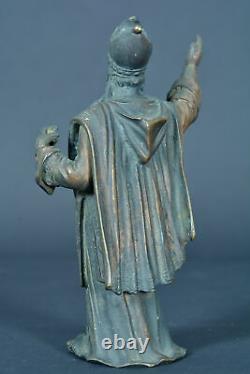 Ancienne statue religieuse en bronze sculpture St Martin de Tours évêque 19E