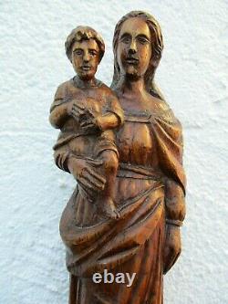 Ancienne statue religieuse sculpture bois vierge marie enfant jésus