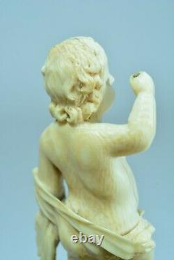 Ancienne statue sculpture Christ Enfant Mémento Mori Vanité Crane Flamand 17 ème
