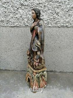 Ancienne statue sculpture albâtre vierge assomption alabaster virgin putti old