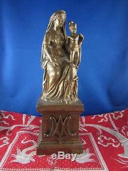 Ancienne statue sculpture en bronze religieux vierge epoque XIXe maternité