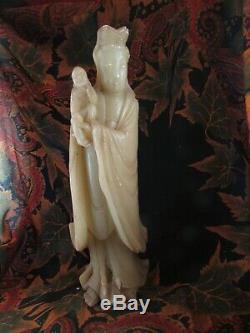 Ancienne statue sculpture en pierre dure asiatique chine japon vierge enfant 19e