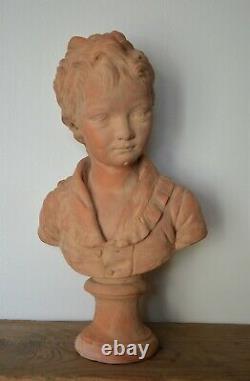 Ancienne statue sculpture en terre cuite enfant signé Houdon par Fourmaintraux
