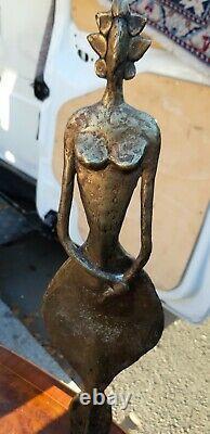 Ancienne statue / sculpture ethnique en bronze