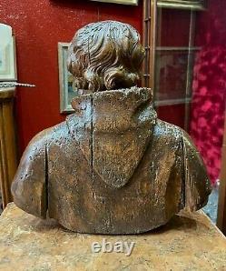 Ancienne statue sculpture religieuse buste saint bois sculpté epoque XVII-XVIIIe