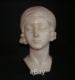 Ancienne statue tête de femme art nouveau marbre sculpté fin XIX ème