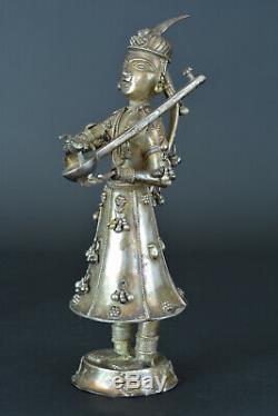 Ancienne statuette en Argent Personnage parade Ethnique Inde Asie Thailande