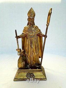 Ancienne statuette en bois doré. Probablement Saint Eloi. XVIII ème