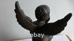 Ancienne statuette sculpture fonte fer XIXème. Putto. Angelot. Antique bronze