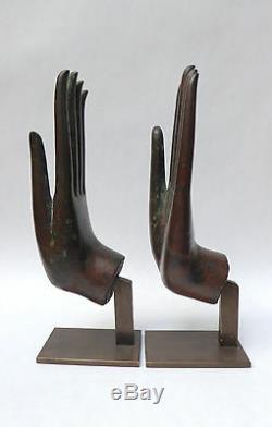 Anciennes MAINS BOUDDHA BRONZE MUDRA antérieur au 19ème siècle Thaïlande statue