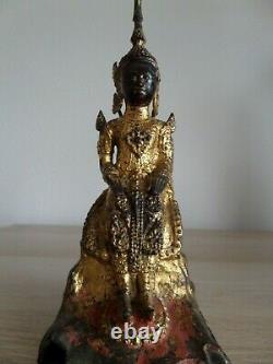 Antique Ancien Bronze Gilded BUDDHA BOUDDHA Rattanakosin Siam Thaïlande 19th C