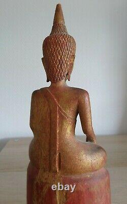 Antique Ancien Wood Gilded BUDDHA BOUDDHA Bois Siam Thaïlande Laos Lan na